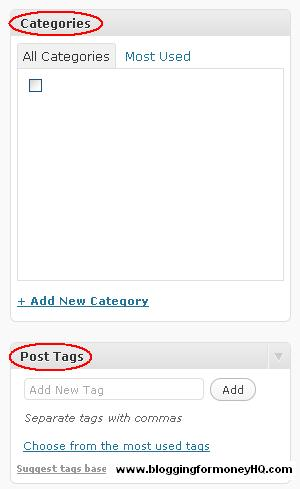 blogging for money - categories post tags