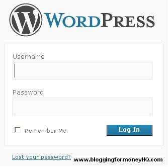 blogging for money - wordpress login